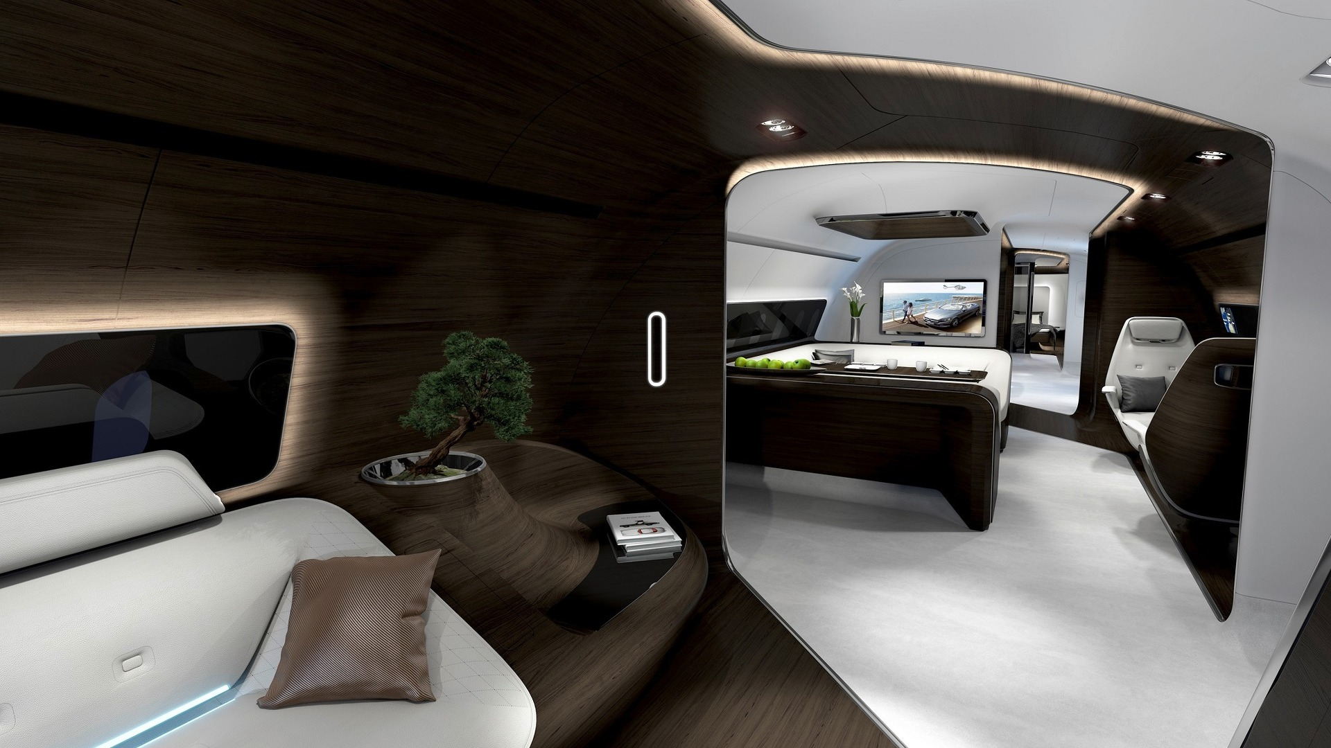 mercedes reveals luxury aircraft and yacht interiors. Black Bedroom Furniture Sets. Home Design Ideas