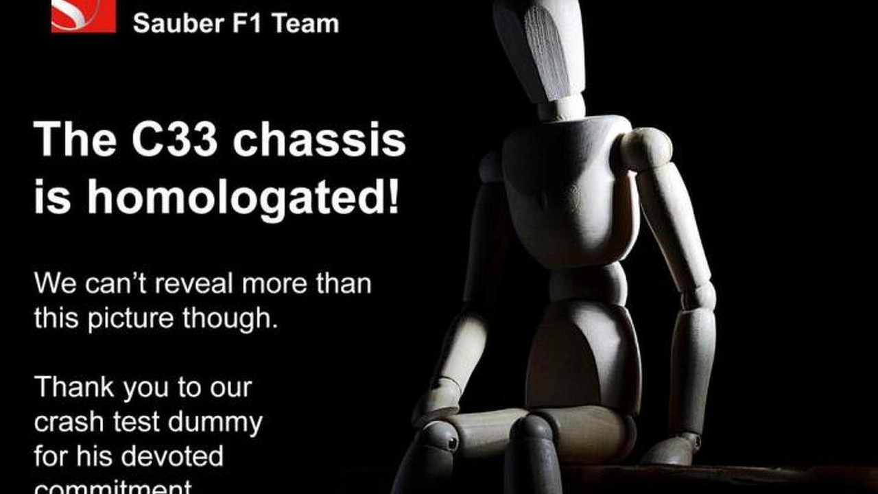 2014 Sauber C33 passes FIA crash tests announcement