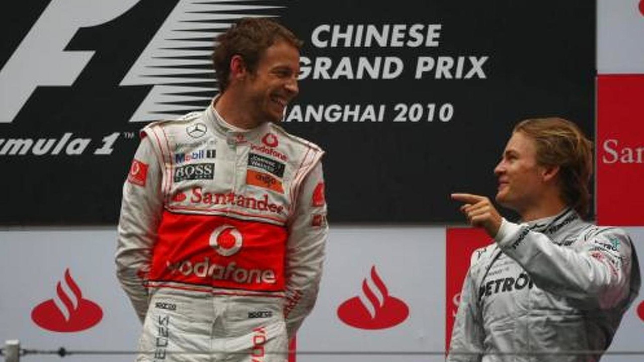 1st place Jenson Button (GBR), McLaren Mercedes with 3rd place Nico Rosberg (GER), Mercedes GP Petronas, Chinese Grand Prix, 18.04.2010 Shanghai, China