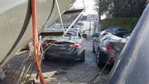 Collapsed crane destroys Jaguar XK-R and BMW 6-Series