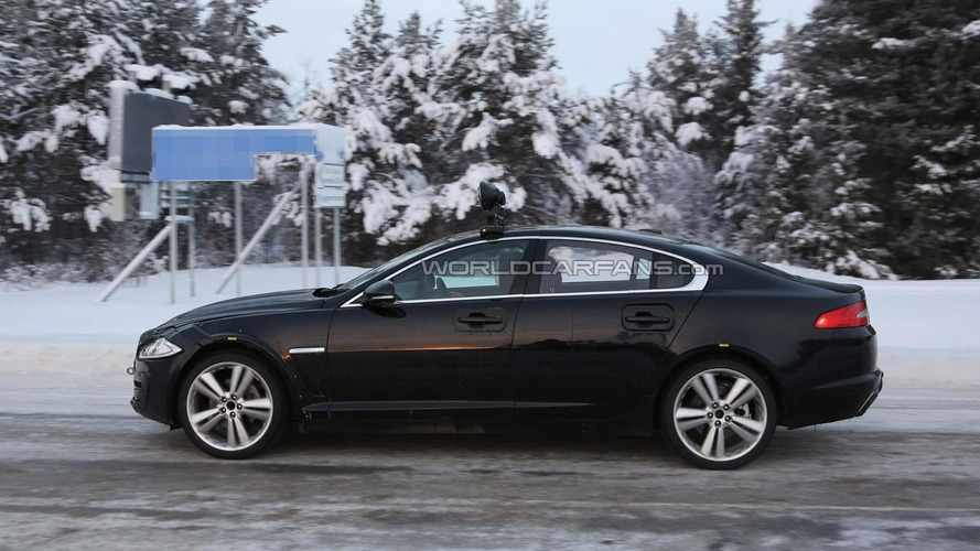 2016 Jaguar XF test mule spied with longer wheelbase near the Arctic Circle