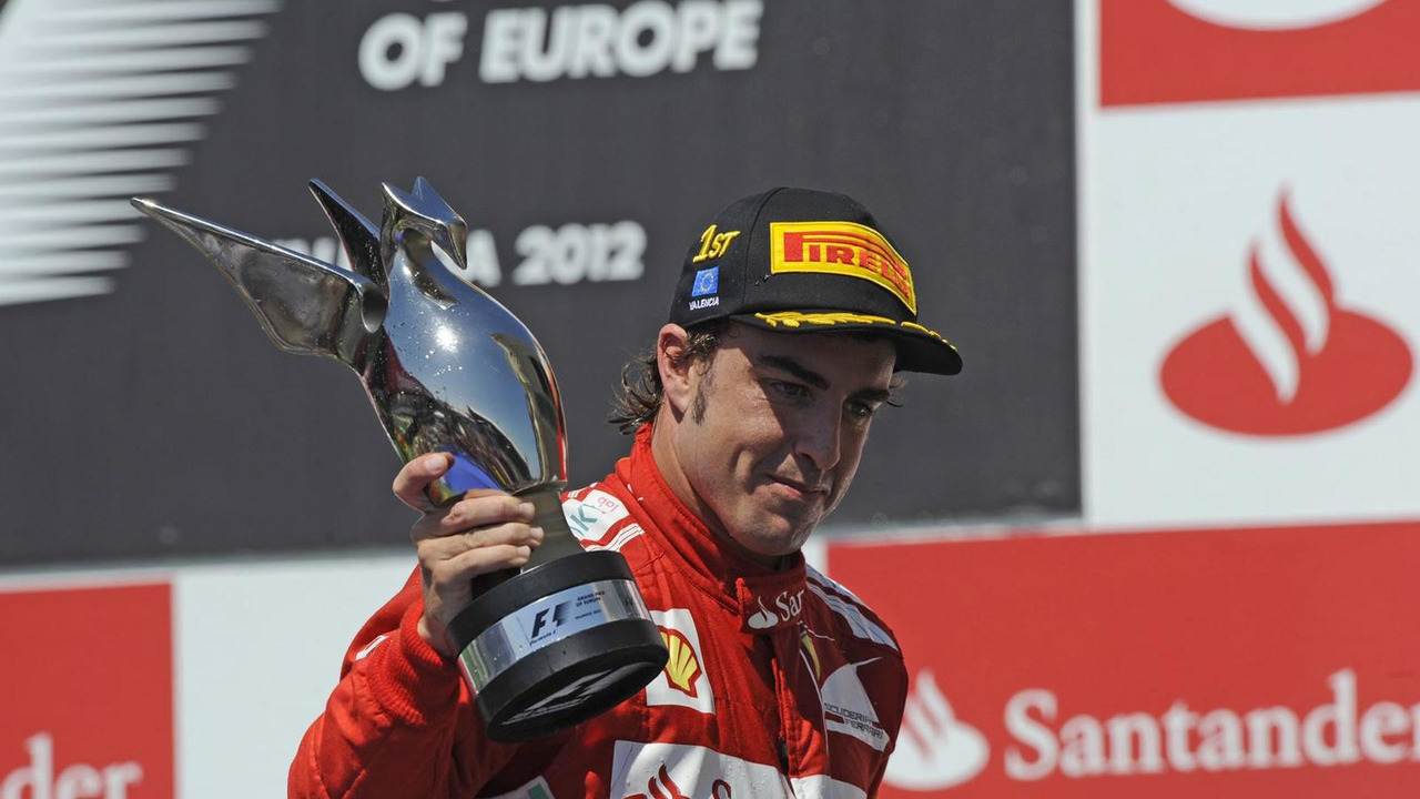 Fernando Alonso celebrates winning 2012 European Grand Prix in Valencia
