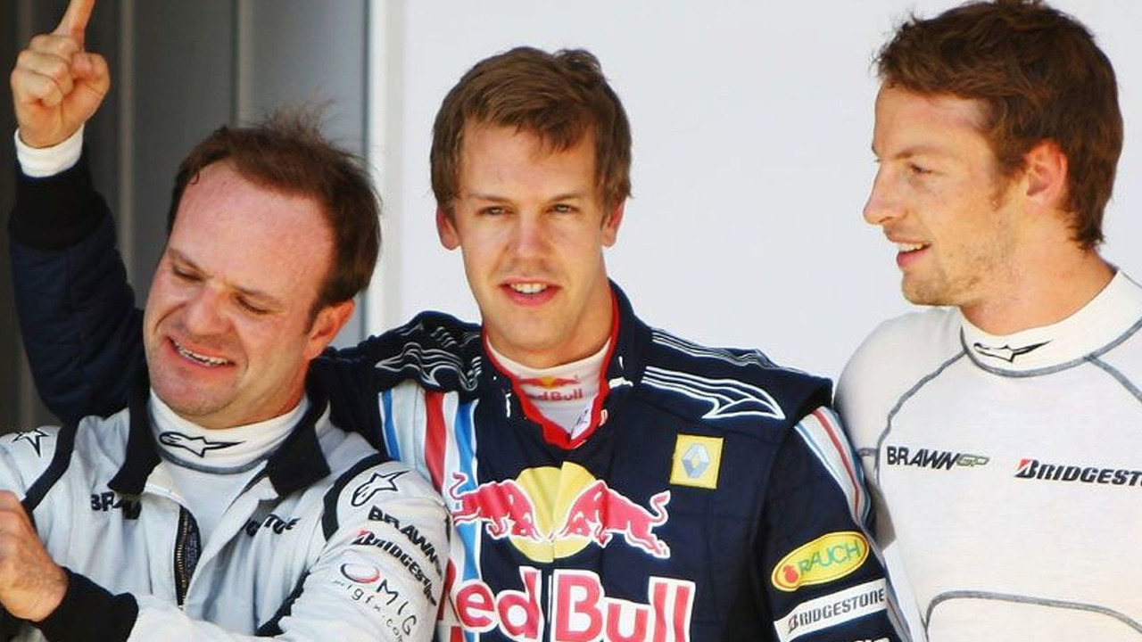 Sebastian Vettel celebrates securing pole position