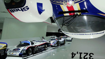 """The exhibition: The Idea """"fast"""" shows the Porsche 956 spectacular arranged above the visitor's head from the ceiling of the Museum"""