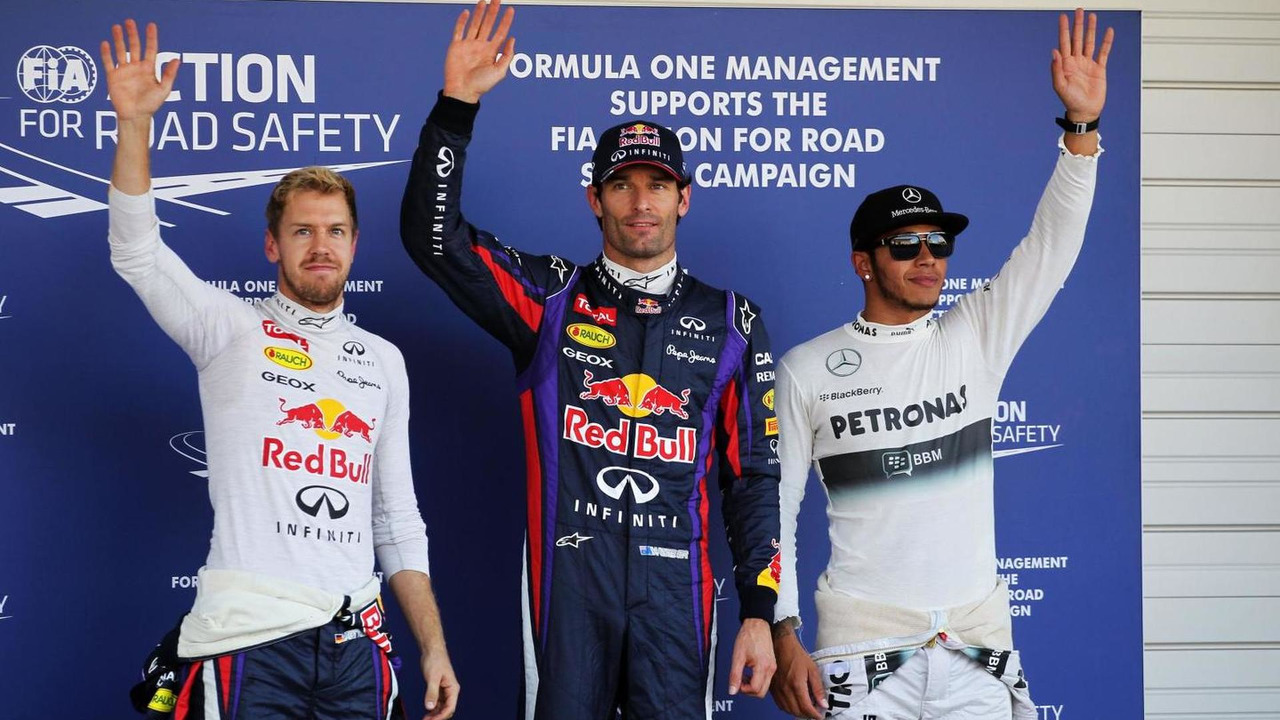 Sebastian Vettel, Mark Webber, Lewis Hamilton qualifying top three  12.10.2013 Japanese Grand Prix