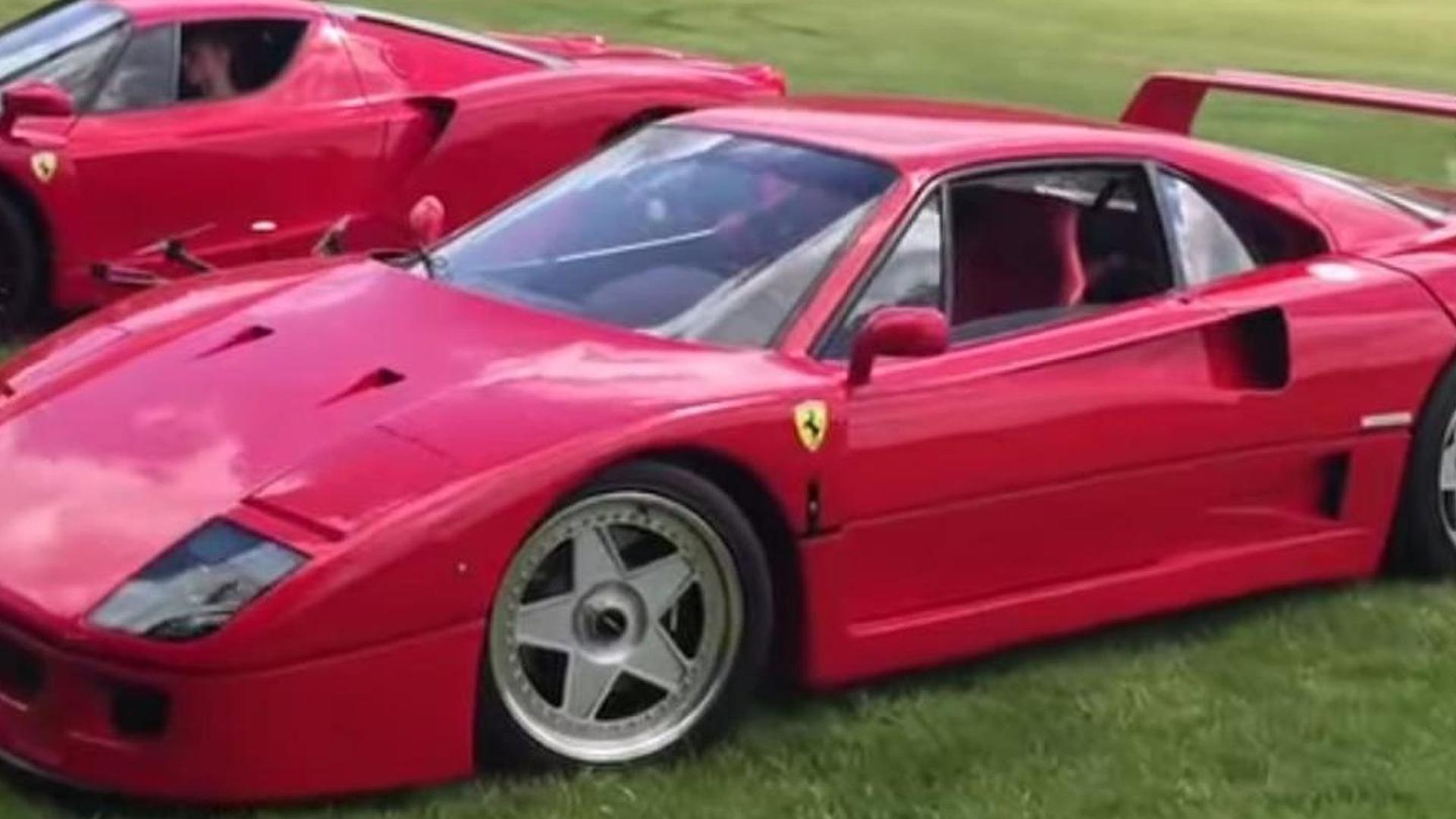 Ferrari F40 and Enzo playing in the grass seems like a lot of fun [video]