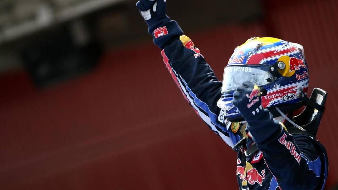 Mark Webber celebrates winning 2010 Spanish Grand prix