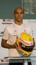 Lewis Hamilton with bespoke Steinmetz Diamond helmet