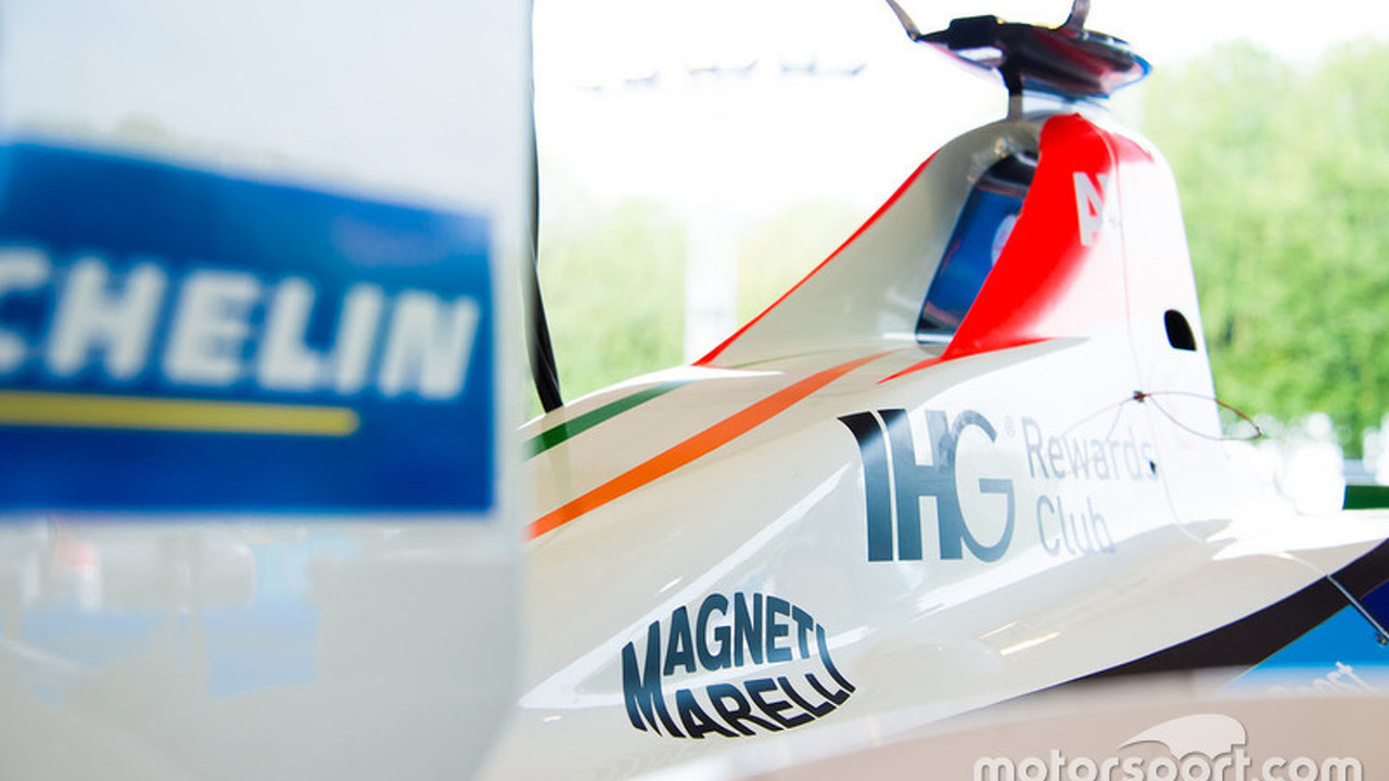 Mahindra Racing car with Magneti Marelli logo