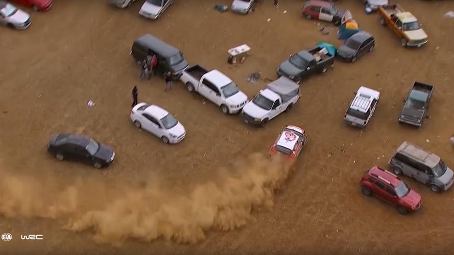 WRC car takes detour through car park, still wins