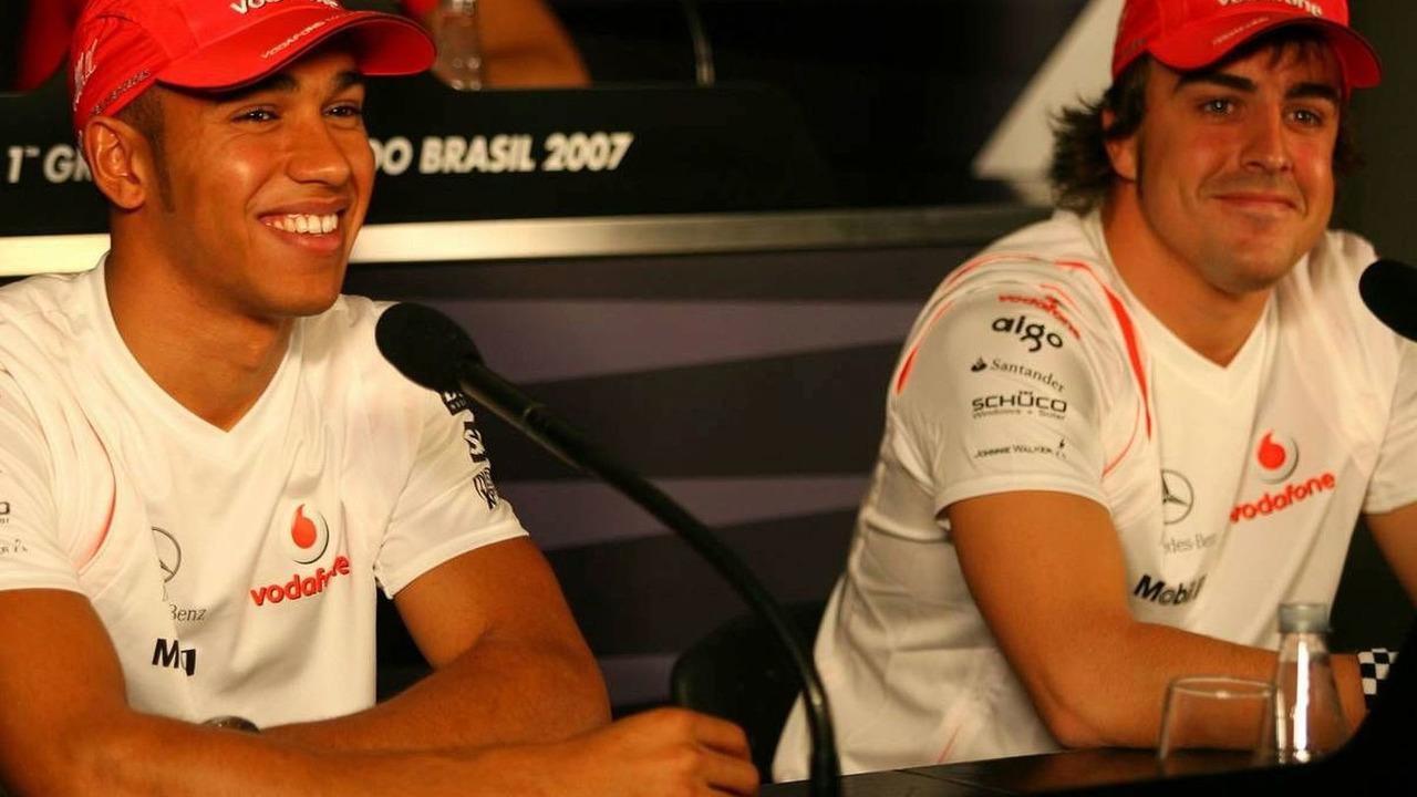 Lewis Hamilton (GBR), Fernando Alonso (ESP), Brazilian Grand Prix, Thursday Press Conference, 18.10.2007 Sao Paulo, Brazil