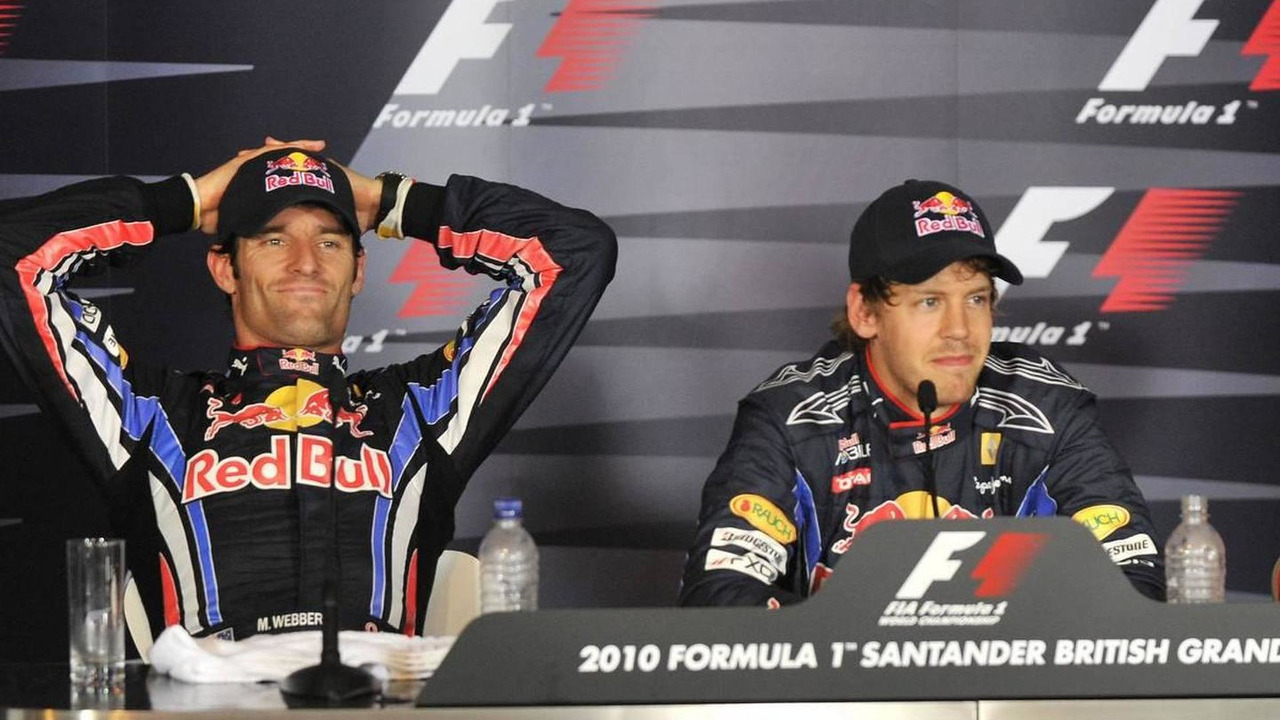 Mark Webber (AUS), Red Bull Racing and Sebastian Vettel (GER), Red Bull Racing, British Grand Prix, Saturday Press Conference, 10.07.2010 Silverstone, England