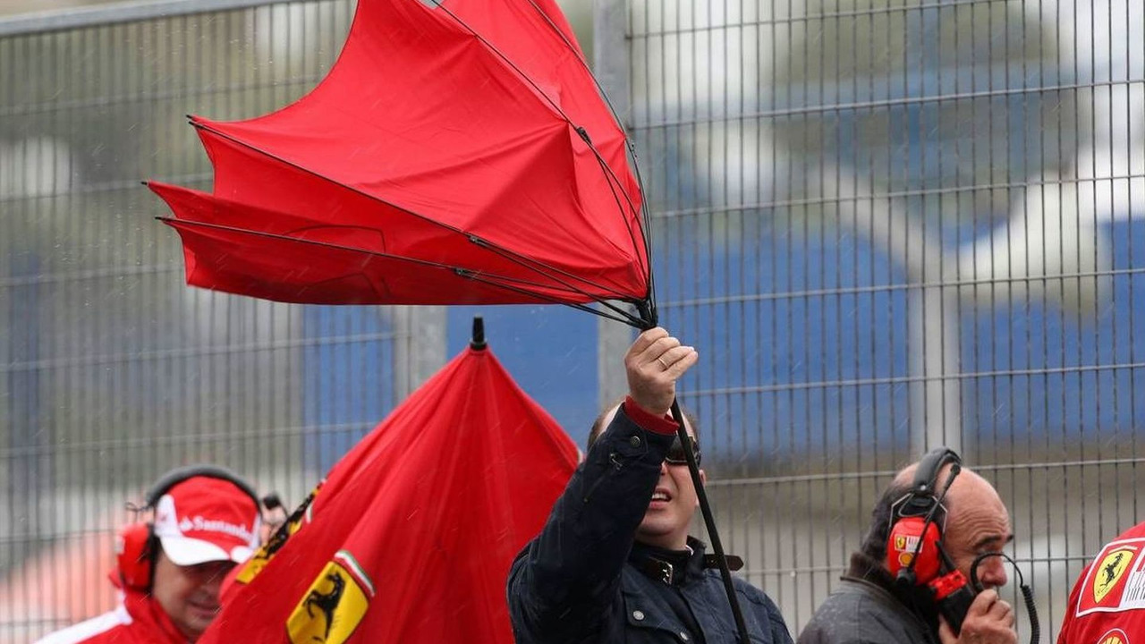 The wind gets up, blowing around a Ferrari umbrella, Formula 1 Testing, 18.02.2010, Jerez, Spain