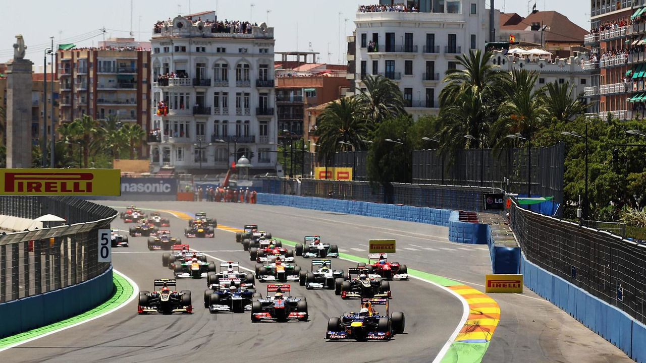 Sebastian Vettel leads the field at the start of the European Grand Prix at the Valencia Street Circuit on June 24, 2012 in Valencia, Spain
