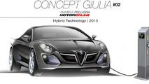 Alfa Romeo Giulia concept rendered in three versions