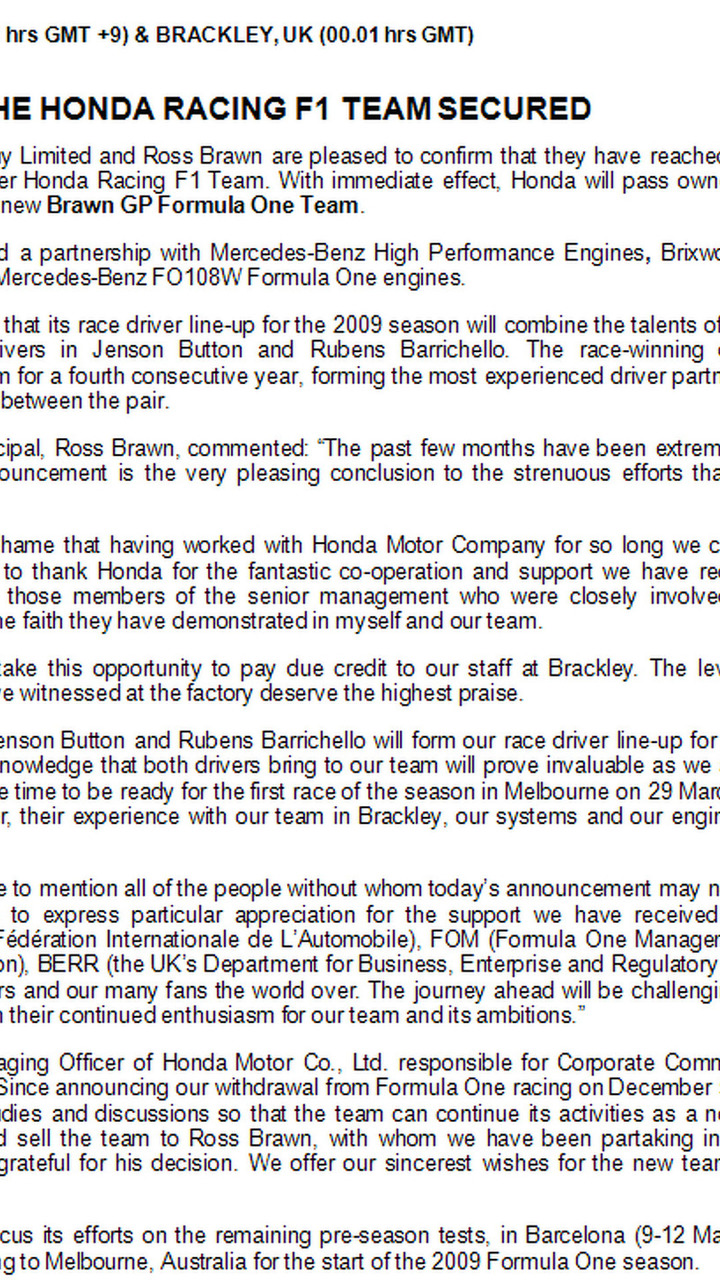 BrawnGP press release image