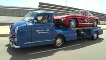 Jay Leno drives a replica of a 66-year-old race car transporter