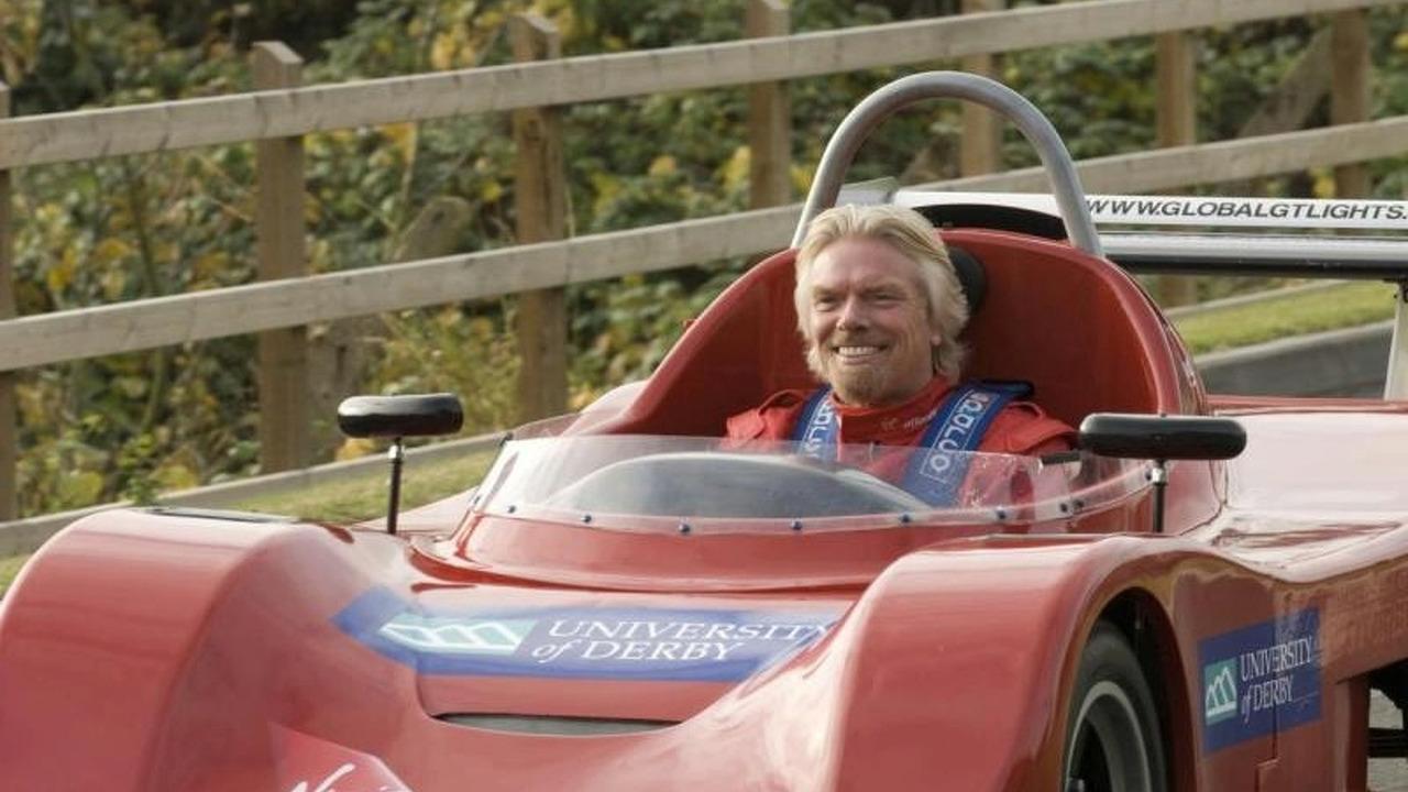 Richard Branson driving Derby University Global Light car