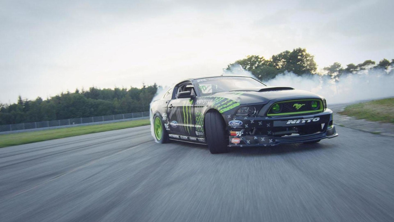 Vaughn Gittin Jr drifts the RTR Mustang in France