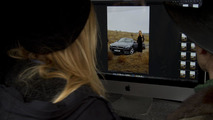 Filmmaker Alex Prager watching Lara Stone and Mercedes SL roadster on set 13.01.2012