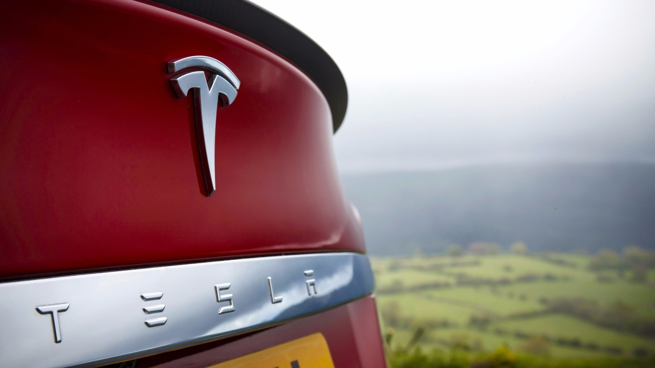 Tesla logo on Model S