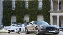 1955 Mercedes-Benz 300 SLR Uhlenhaut Coupe and 2013 SLS AMG GT