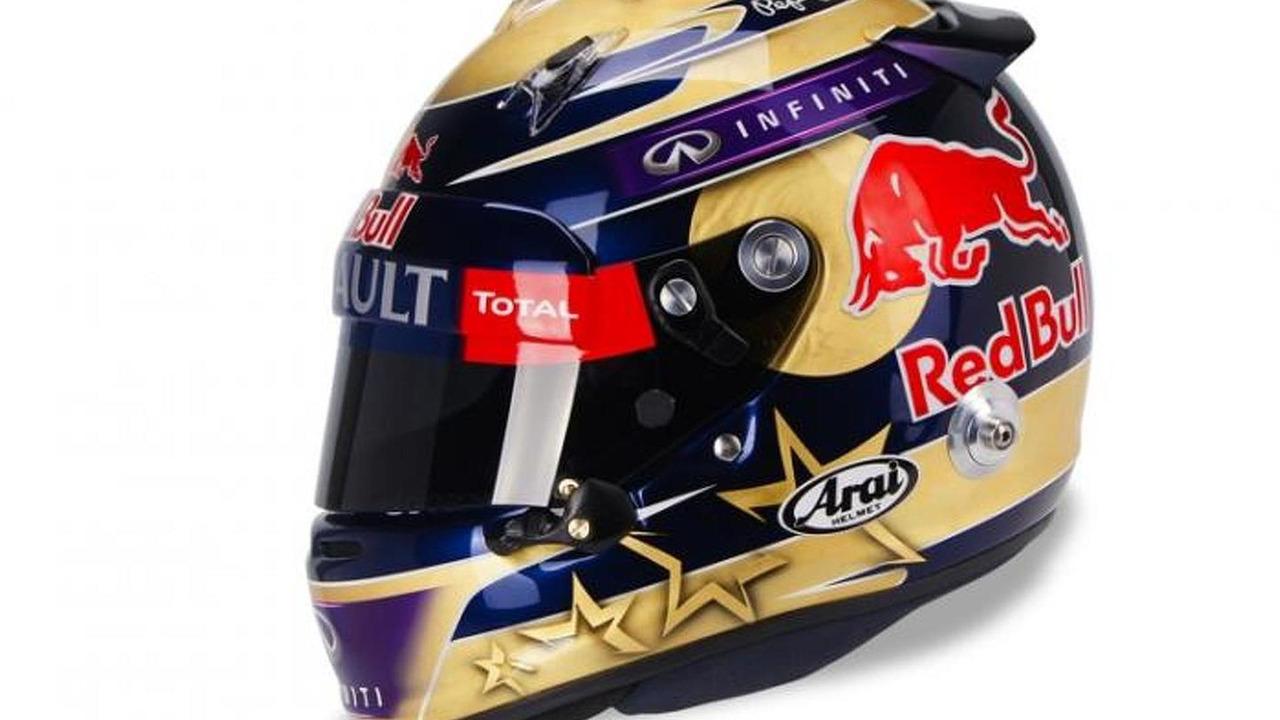 Sebastian Vettel gold leaf helmet 01.11.2013 Abu Dhabi Grand Prix