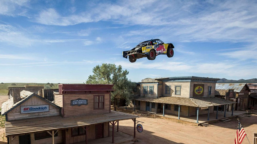 Race truck jumps over ghost town, sets world distance record