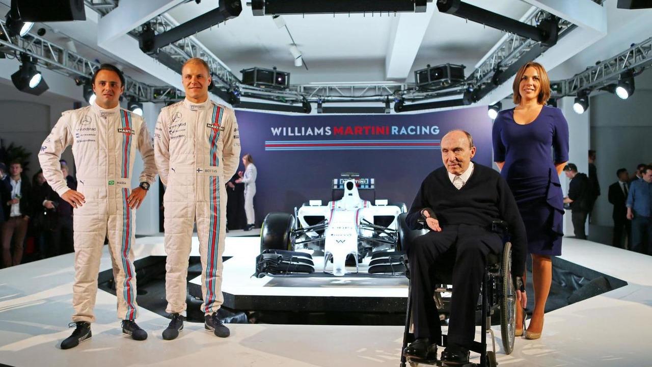Valtteri Bottas (FIN) with team mate Felipe Massa (BRA), Frank Williams (GBR) and Claire Williams (GBR), Formula One Launch / XPB