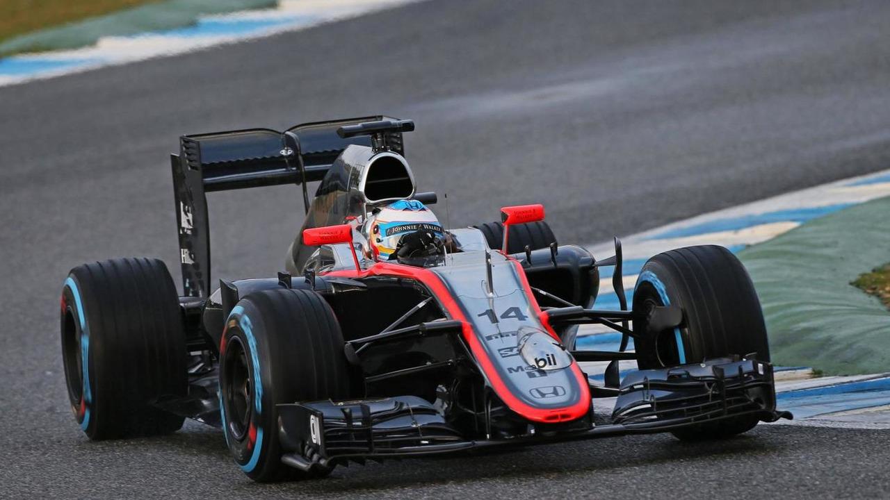 Fernando Alonso (ESP), McLaren MP4-30 running sensor equipment on the nosecone, 03.02.2015, Formula One Testing, Day Three, Jerez, Spain / XPB