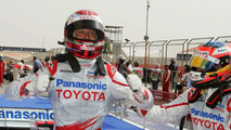 Jarno Trulli and Timo Glock celebrate after qualifying in Bahrain 2009