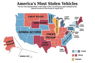 Map of Most Stolen Cars In The US Might Surprise You