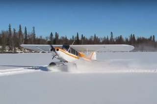Watch an  Airplane Do Donuts in the Snow