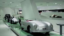 "The exhibition: the Prologue with 356 ""Number 1"" Roadster, 1948 (in front), Type 360 Cisitalia, 1947 (centre) and VW Beetle, 1950 (behind)"