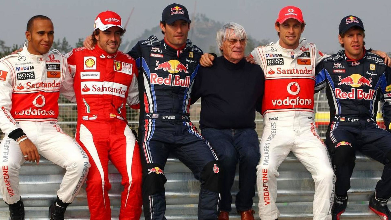 Lewis Hamilton (GBR), Fernando Alonso (ESP), Mark Webber (AUS), Bernie Ecclestone (GBR), Jenson Button (GBR), Sebastian Vettel (GER), Formula 1 World Championship, Rd 17, Korean Grand Prix, 21.10.2010 Yeongam, Korea