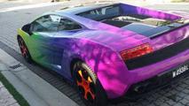 Lamborghini Gallardo gets rainbow camouflage in Malaysia