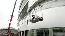 Mercedes SLS AMG Flies onto the Mercedes-Benz Museum Stuttgart [Video]