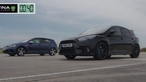 Ford Focus RS lines up against Golf R for a drag race