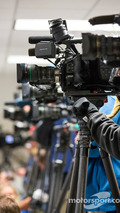 Television cameras cover the Kurt Busch press conference