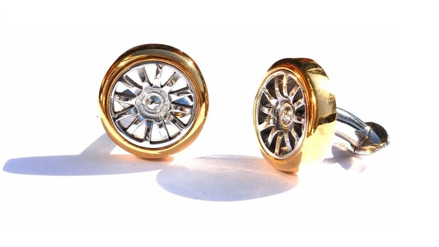 Bugatti wheel cufflinks are made from actual Veyron wheel