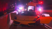 Rented Lamborghini Gallardo damaged and abandoned on Texas tollway [video]