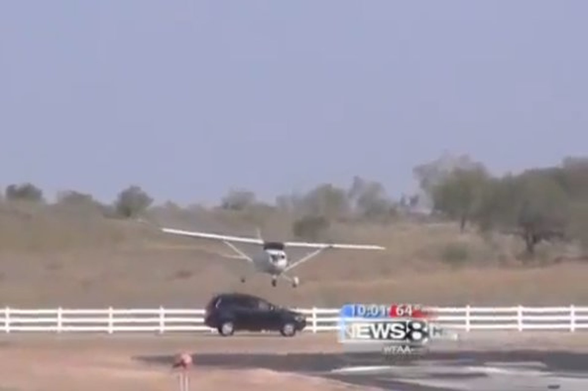 Small Plane Clips Volvo Crossover on Landing