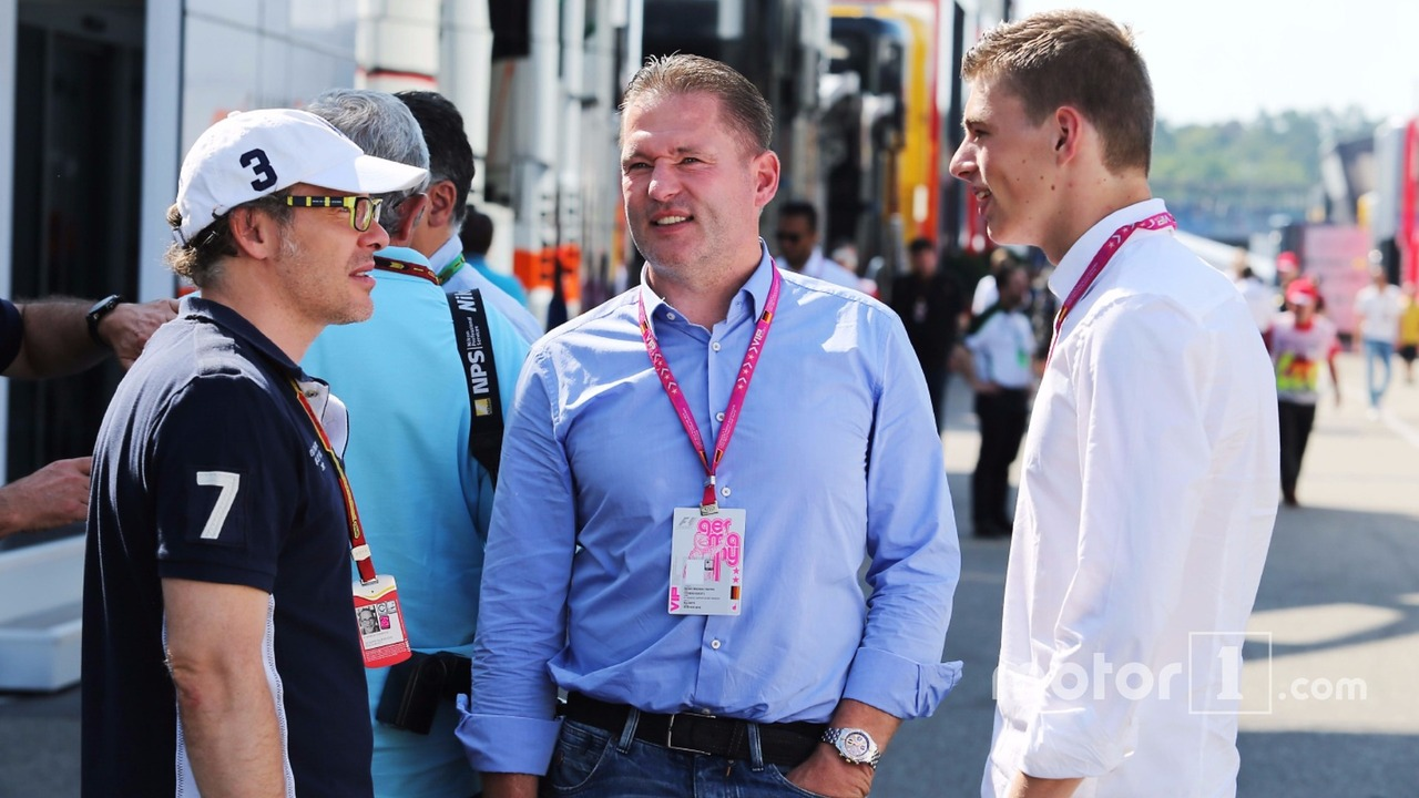 (L to R): Jacques Villeneuve, with Jos Verstappen, and his son Max Verstappen