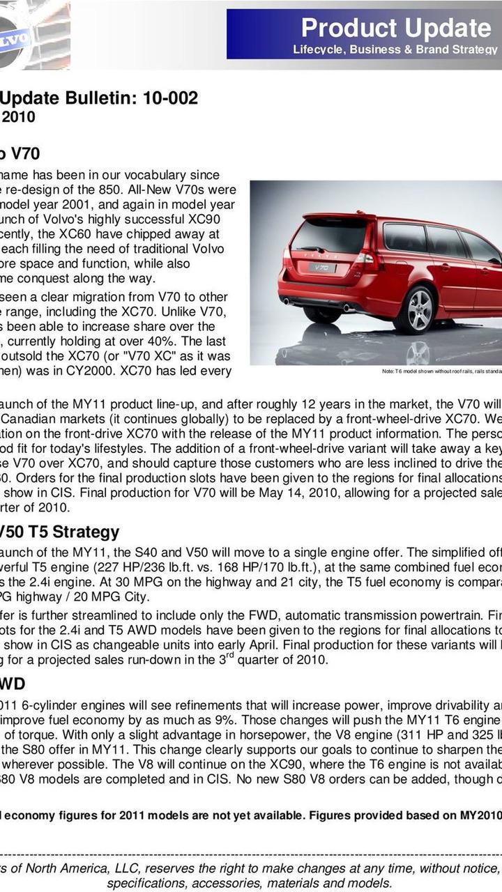 Volvo USA dealer product update bulletin 25.03.2010