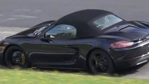 Porsche Boxster S facelift spied testing at the 'Ring with 4-cylinder turbo engine [video]