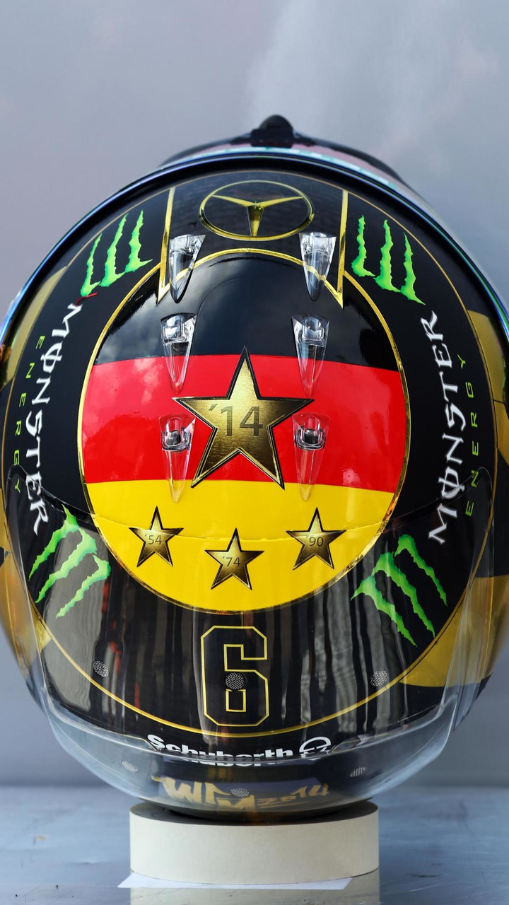 The helmet of Nico Rosberg (GER) celebrating the 2014 FIFA World Cup success of Germany, 17.07.2014, Formula 1 World Championship, Rd 10, German Grand Prix / XPB