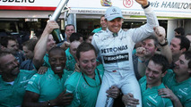 Nico Rosberg celebrates with Mercedes team 26.05.2013 Monaco Grand Prix