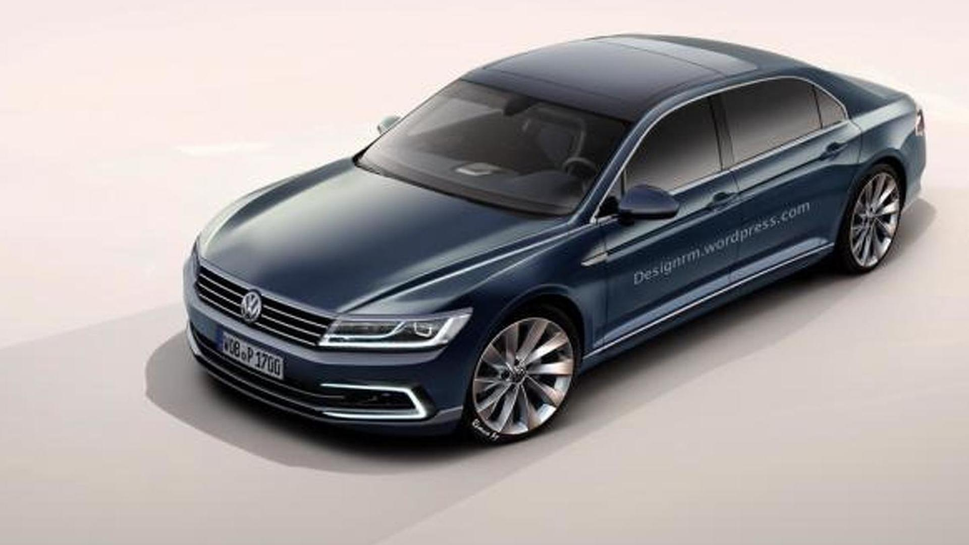 next generation volkswagen phaeton render shows a bigger passat. Black Bedroom Furniture Sets. Home Design Ideas