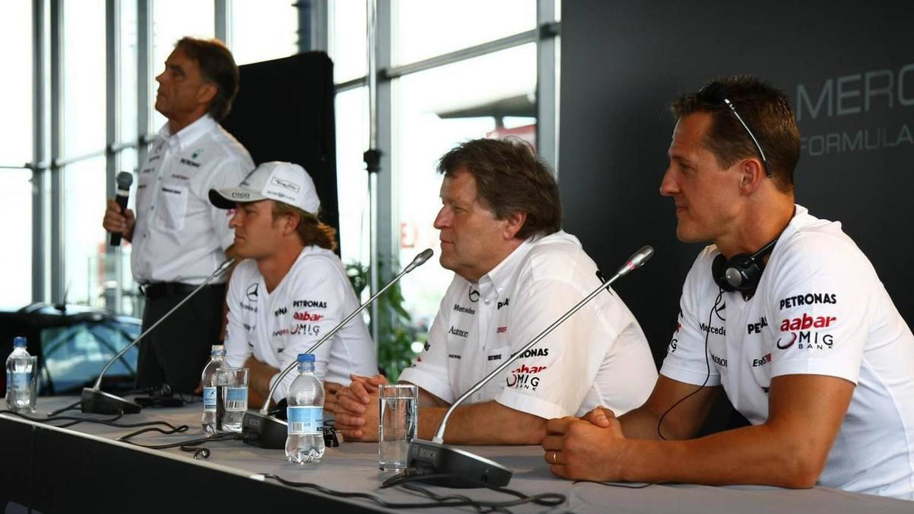 Nico Rosberg (GER), Mercedes GP Petronas with Norbert Haug (GER), Mercedes, Motorsport chief and Michael Schumacher (GER), Mercedes GP Petronas, Hungarian Grand Prix, 29.07.2010 Budapest, Hungary