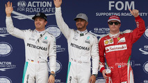 Qualifying top three in parc ferme (L to R)- Nico Rosberg, Mercedes AMG F1, second; Lewis Hamilton, Mercedes AMG F1, pole position; Kimi Raikkonen, Ferrari, third